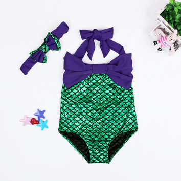 cute baby girl swimwear one piece fish scales Printing Children girls swimsuit kid children swimming Suit CH11 MP