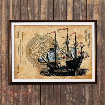 Steampunk art Ship poster Nautical print Patent print SOL112