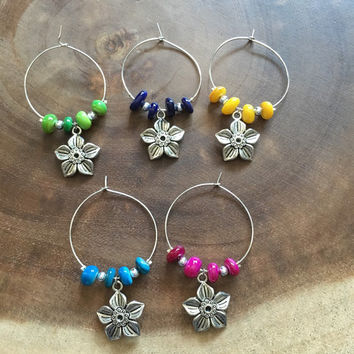 Flower Wine Charms, Floral Wine Charms, Wine Charms, House Warming Gift, Mother's Day Gift, Hostess Gift, Wine Glass Charms