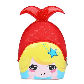 Winmax 2017 Girls Beautiful Mermaid 3D Cute Waterproof Kids School Bags Children Cartoon Backpack Bags for Kindergarten Baby Bag