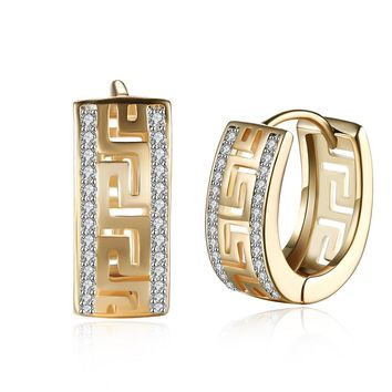 Greek Medallion Swarovski Crystal Huggie Hoop Earrings Set in 18K Gold