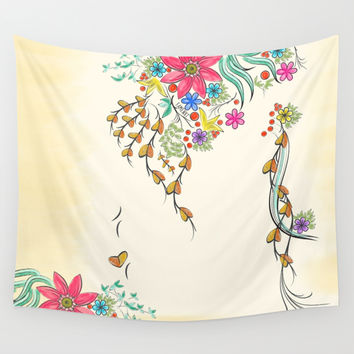 Vibrant Floral to Floral Wall Tapestry by Famenxt