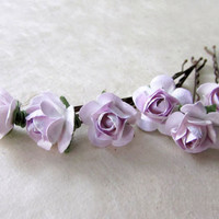 Purple Rose Bobby Pin Set. Small Hair Flowers Handmade Paper Hair Accessories in Light Lavender and Lilac. Rustic Wedding Bridesmaid Gifts.