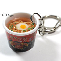 Kim Chi Ramen Keychain - Kawaii, cute miniature Korean food kim chee noodle bowl keyring