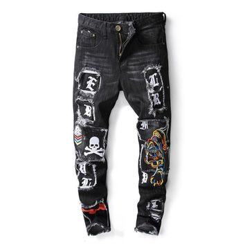 Men's Skull Distressed Ripped Jeans