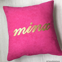 Hand Cut Gold Minx Wording Decorative Fuchsia And Gold Pillow Cover. 16inch Hot Pink Cushion Cover. Modern Typo. New Home Gift. Pillow Case