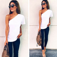 2017 new  new fahsion sexy off the shoulder solid white Summer Women Casual Halter Vest  Sleeveless  Shirt USA