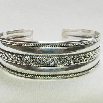 Sterling Silver Cuff Bracelet Braid Rope Design 925 BA Indonesia