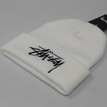 Stussy winter couple students warm hat tide card cold hat White
