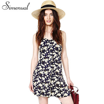 Simenual Daisy print summer jumpsuits rompers 2017 fashion sleeveless lace up short women overalls slim sexy tank playsuits sale