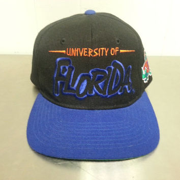 Vintage Starter University Of Florida Gators Snapback Hat 1990's 1980's NCAA Football SEC Black Blue