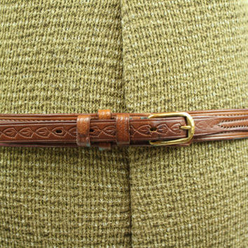 SALE - Vintage 70s - Tooled Leaves - Brown Leather - Solid Brass Buckle - Ranger - Western Belt