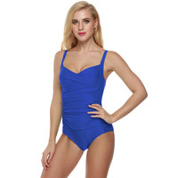 Vintage Pleated Padded Straps Swimsuit