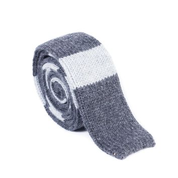 Brunello Cucinelli Mens 100% Cashmere Gray Striped Tie