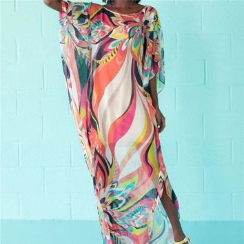 DCCKLW8 Beach Dress Kaftan Pareo Sarongs Sexy Cover-Up Chiffon Bikini Swimwear Tunic Swimsuit Bathing Suit Cover Ups Robe De Plage