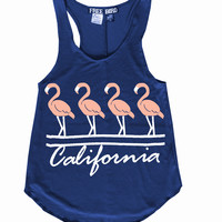 Beach California Flamingo Racerback Tank Top