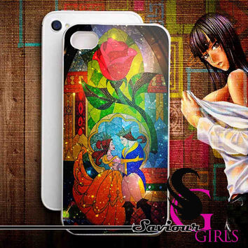 Disney Beauty and the Beast Stained Glass on Galaxy for iPhone 4/4S, 5/5S, 5C and Samsung Galaxy S3, S4 - Rubber and Plastic Case