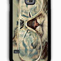 Samsung Galaxy S5 Case - Rubber (TPU) Cover with Cat Glasses Rubber Case Design