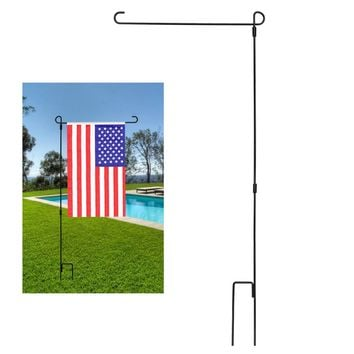 "BonyTek Garden Flag Stand Flagpole, Black Wrought Iron Small Flag Stand For Yard Garden Flag Pole Flag Holder- 36.22"" H x 16.53"" W (1)"