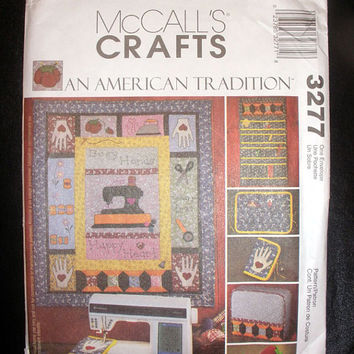 Sewing Room Accessories, Organizer, Sewing Machine Cover McCalls 3277 Crafts Sewing Pattern Uncut