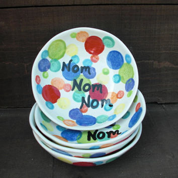 Nom Nom Nom - Personal Cereal or Ice Cream Ceramic Bowl - Rainbow Polka Dots - Last Ones