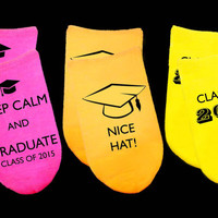 Custom Neon Graduation Socks - A Great Gift for the Class of 2015 Graduate - Set of 3 no show socks