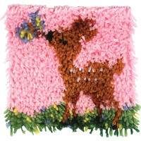 Wonderart Little Fawn Deer Latch Hook Rug Kit 8x8 Made in the USA