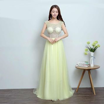 Candy Color Tulle Beading Long Evening Dresses Bride Elegant with Small Train Prom Dress Party