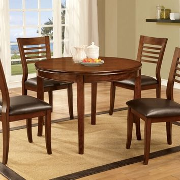 Furniture of america CM3988RT-3988-W 5 pc dwight i collection transitional style medium oak finish wood round dining table set with ladder back chairs