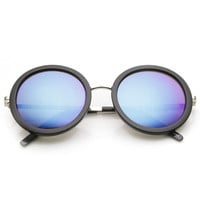 Women's Oversize Round Fashion Mirror Lens Sunglasses 9187