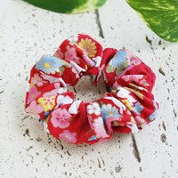 Fabric Scrunchie - Cherry Blossoms and Moon Bunnies in Red ( Discontinued )