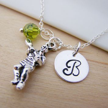 Lacrosse Sports Charm Swarovski Birthstone Initial Personalized Sterling Silver Necklace / Gift for Her