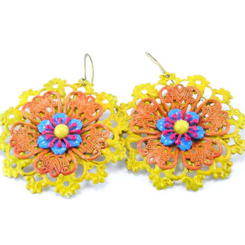 Mello Yellow Flower Earrings,Summer Earrings, Filigree Flowers, Blue,Yellow  Tangerine