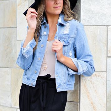 * Crystal Distressed Jean Jacket : Light Wash