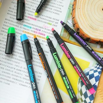 6 pcs Lumina pens fluorescent Highlighter for paper copy fax drawing Marker pen Stationery office material School supplies