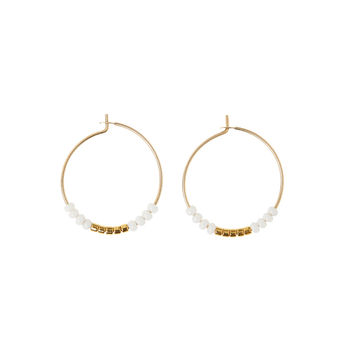 Beaded Small Hoop Earrings - White & Gold