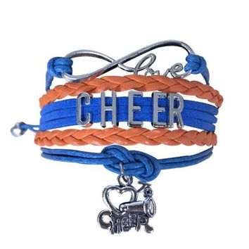 Cheer Infinity Bracelet - Orange & Blue
