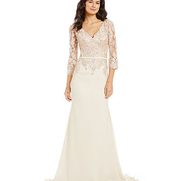 VM by Mori Lee Beaded Lace Applique Satin Back Crepe Gown | Dillards