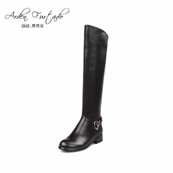 2017 new custom boots tube knee high boots flats boots for woman genuine leather shoes women plus size small size riding booties