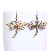 Holiday sale - Antique brass dragonfly dangle earrings (630)