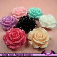 30mm ROSES Decoden Flatback Resin Flower Cabochons by RockinResin