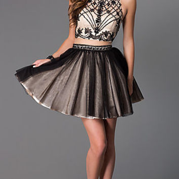 Short Mock Two Piece High Neck Dress by Dave and Johnny