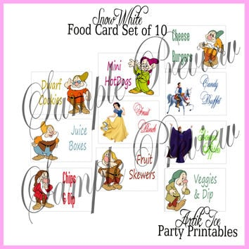 Snow White Birthday Party BLANK Foldable Cards - food cards, place cards, game cards, etc - Instant Download Princess SALE!!