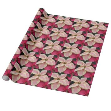 Marbled Poinsettia Floral Photo Wrapping Paper