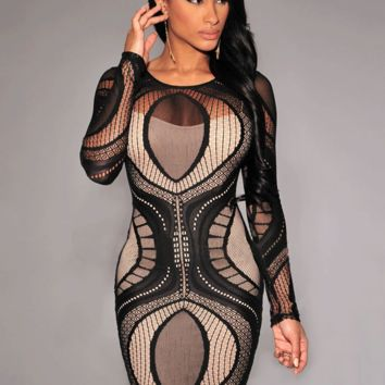 Lace Cut-Out Long Sleeve Bodycon Dress