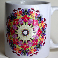 Ceramic mug Orchid mandala, red, yellow, pink, blue violet, orange, ivory, all occasion gift, for anyone, tea cup, floral coffee mug