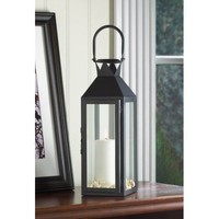 Black Manhattan Contemporary Pillar Candle Lantern Home Decor