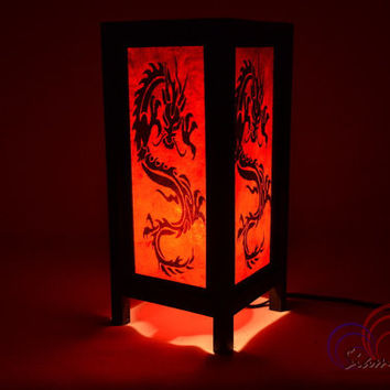 Red Mulberry paper Table Lamp 11 inch High The Oldest Dragon Lantern Beside Bedroom Lamp Decoration
