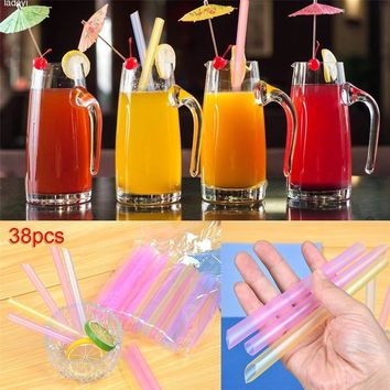 38 PCS Disposable Jumbo Colored Straw Pearl Milk Tea Bubble Tea Juice Drink Beverage Drinking Straw Party Supplies Random Colors