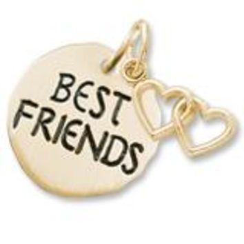 Best Friends Tag With Heart Charm in Yellow Gold Plated
